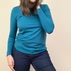 Eileen Fisher Teal Blue Long Sleeve Round Neck Tee